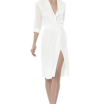 alice + olivia | TRISTAN WRAP TIE BELT DRESS