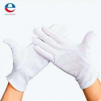 12 Pairs Elastic Nylon Yarn and Cotton Labor Working Gloves Hand Security Safely Protection Cover White Free Shipping