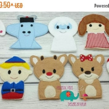 On Sale 15% Off Rudolph and friends finger puppets embroidered, puppet, kids, children, toys, games, make believe, pretend play, felt, chris