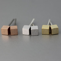 Cube earrings, Mini Square earrings,   Silver Post Earrings  - Available color ( Silver, Gold , Pink Gold)