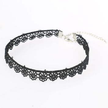 Black Lace Adjustable Chain Choker Necklace
