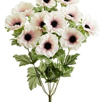 "Artificial Flowers Anemone Bush in Pink - 19"" Tall"