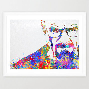 Walter White Breaking Bad Mr White Heisenberg Watercolor Art Print,Wall Art Hanging,Home Art,Giclee Wall Decor,TV Characters Poster, #171