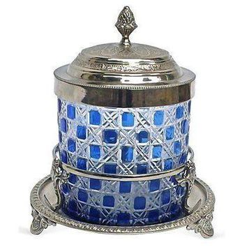 Pre-owned Antique Silverplated & Cut Glass Biscuit Jar