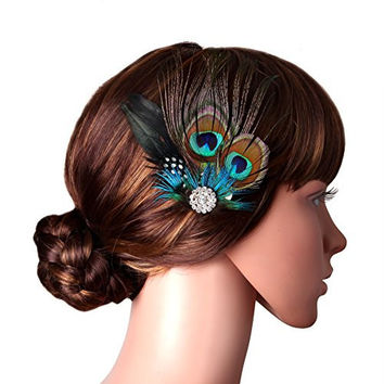 Babeyond® Peacock Feather Hair Clip & Flower Pin with Rhinestones