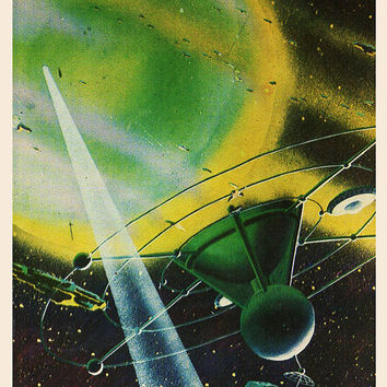 The Rings of Saturn (Artist A. Sokolov) Vintage Postcard - Printed in the USSR, «The Fine Arts», Moscow, 1980