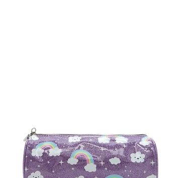 Rainbow Cloud Print Makeup Bag