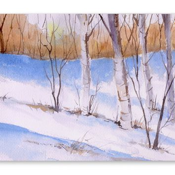 BIRCH TREES WITH BLUE SHADOWS Premium Canvas Gallery Wraps By Jayne Conte