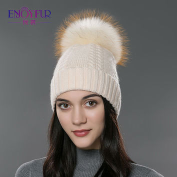 Winter fur hat for women real raccoon fox fur beanies cap Wool cashmere knitted hat 2016 new arrival fashion unisex snow cap