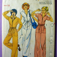 "Retro 70's Jumpsuit Butterick 5889 Misses' Size 12 Bust 34"" Vintage 1970's Sewing Pattern"