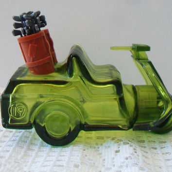 Vintage Avon Golf Cart Decanter Retro Green Glass
