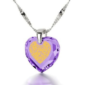 """I Love You More"", 14k White Gold Necklace, Cubic Zirconia"