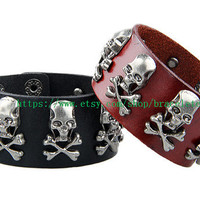 Real Leather Bracelet Skull Heads Bracelet, Men Leather Wristband Cuff Bracelet, Women bracelet  SL179-BL