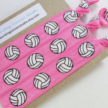 Pink volleyball hair ties, set of 3, beach volleyball, foldover elastic, gentle ponytail holders, FOE, sports, athletic girls gift, pink out