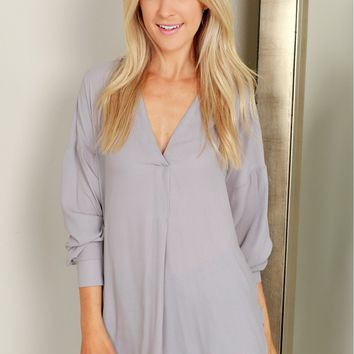 Gray Long-Sleeved Loose Chiffon Top