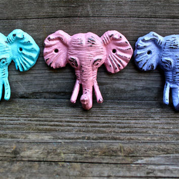 "Colorful ""Elephant"" cast iron Wall Hook Set: You Pick the Colors by AquaXpressions"