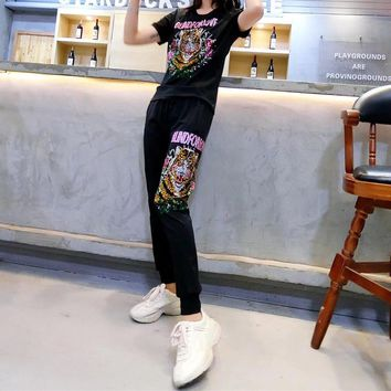 Gucci  Casual  Pattern  Embroidery Short Sleeve Edgy Fashion Two-Piece Suit Clothes