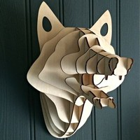 Laser Cut Wooden Forest Fox Head Kit