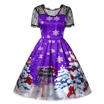 2018 New Arrival Christmas Women Short Sleeve Lace Patchwork Printing Vintage Gown Party Dress