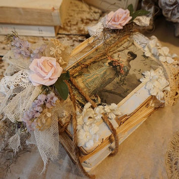 Distressed book stack moss w/ pink rose shabby cottage chic book bundle French postcard antique lace embellishments decor Anita Spero Design