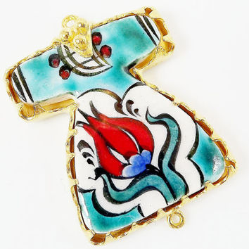 Hand painted Turkish Ottoman Caftan Pendant Connector - Red Tulip Turquoise No: 2 - Cini Ceramic - Gold plated 1pc - GP106