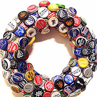 Bottle cap wreath, beer cap wreath, bottle cap decor, mancave decor, beer gift, man gift, fathers day gift, home bar decor, unique decor