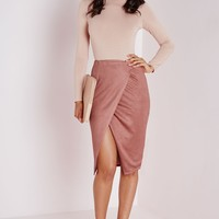 WRAP OVER FAUX SUEDE MIDI SKIRT MAUVE