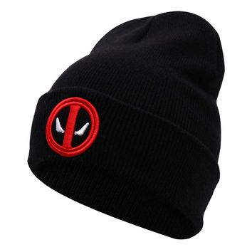 New Hot Selling Cotton Deadpool Winter Hat Embroidery Men And Women Hats Soft Solid Beanies Hip Hop Warm Knitted Caps Gorros