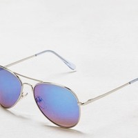 AEO Women's Tinted Aviator Sunglasses (Silver)
