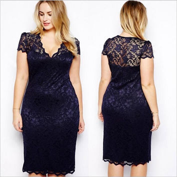 Lace Women's Fashion Plus Size Short Sleeve Sexy V-neck One Piece Dress [9324516804]