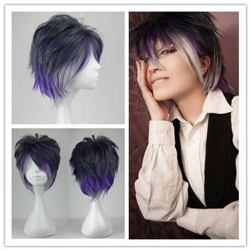 Diabolik Lovers Cosplay Wig Fashion Short Mixed Color Mens Anime Wig,Colorful Candy Colored synthetic Hair Extension Hair piece 1pcs WIG-199A