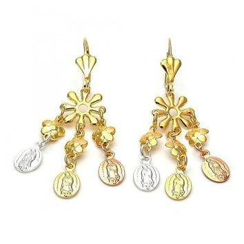 Gold Layered 059.001 Long Earring, Guadalupe and Flower Design, Diamond Cutting Finish, Tri Tone