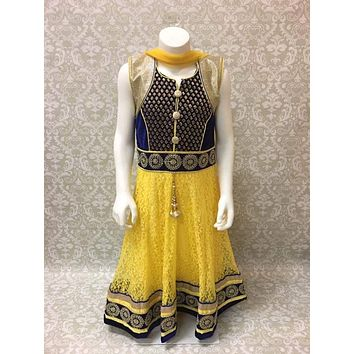 Yellow and Black Net Kids Anarkali Suit