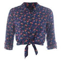 Therapy Floral Tie Front Blouse In Multi-Coloured From House of Fraser