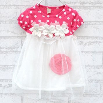 Summer Cute Girls Ball Gown Dress Sweet Flower Print Dress Fashion Dots Beading Dress