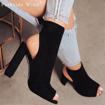 Parkside Wind Sexy Women Boots Fashion Ankle Boots Peep Toe American Style Zipper Floc