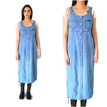 light wash denim overall dress early 90s minimal long button up pale jean dress medium