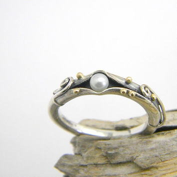 Pearl sterling silver ring, stack pearl ring, organic band ,handmade ring, stackable ,14 k gold granulation, size 7, jewelry gift for her