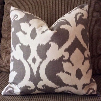Handmade Decorative Pillow Cover - Anoko Greystone - Richloom Platinum Collection - Ikat