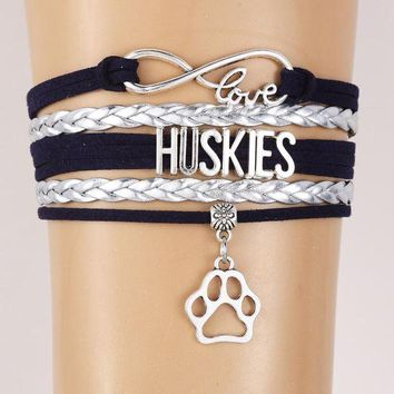DCCKJG1 Infinity Love Huskies Bracelet-Pet Dog Paw Charm Leather braided Bracelets & Bangles Jewelry