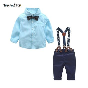 Top and Top Baby Boy Clothes Long Sleeve Newborn Baby Sets Infant Clothing Gentleman Suit Stripe Bow Tie Shirt+Suspender Trouser