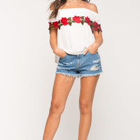 Applique Flounce Off Shoulder Top