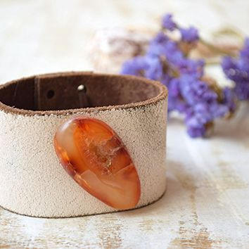 Agate bohemian leather cuff bracelet Southwest