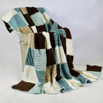 Afghan - Queen Size Sampler Patchwork Blanket - Blues and Brown Throw - Modern Bed Covering