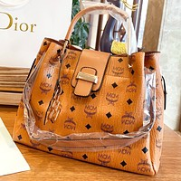 MCM New fashion more letter print leather handbag shoulder bag crossbody bag Brown