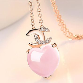 Chanel New Fashion Women Rose Golden Chain Pink Crystal Double C Heart Type Pendant Necklaces Accessories+Best Gift I12365-1
