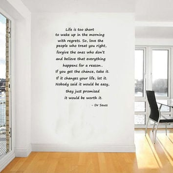 Large Size Dr Seuss Quotes Life Is Too Short... Inspirational Wall Quotes Art Decal