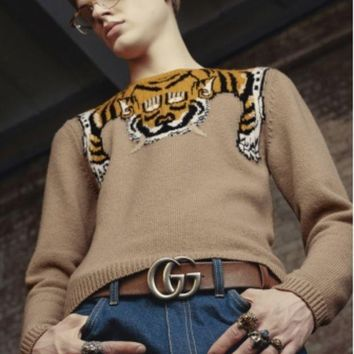 DCCKN6V Gucci Fashion Monogram Print Long Sleeve Splicing Knit Pullover Sweater G-G-JGYF