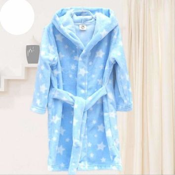 Children's Bathrobes Kids Hooded Robe Baby Beach Bath Robe Kids Sleepwear Boy Girls Cartoon Bathrobe Teenager Flannel Bathrobes