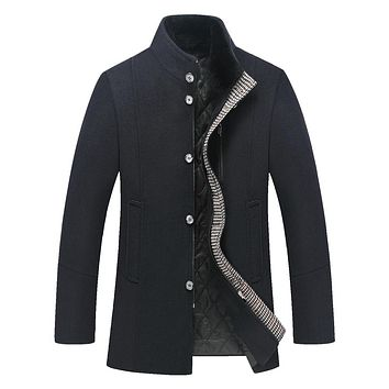 Casual Stand Collar Real Fur Collar Mens Wool Jackets And Coats Long Thick Wool Coat Winter Jacket Men